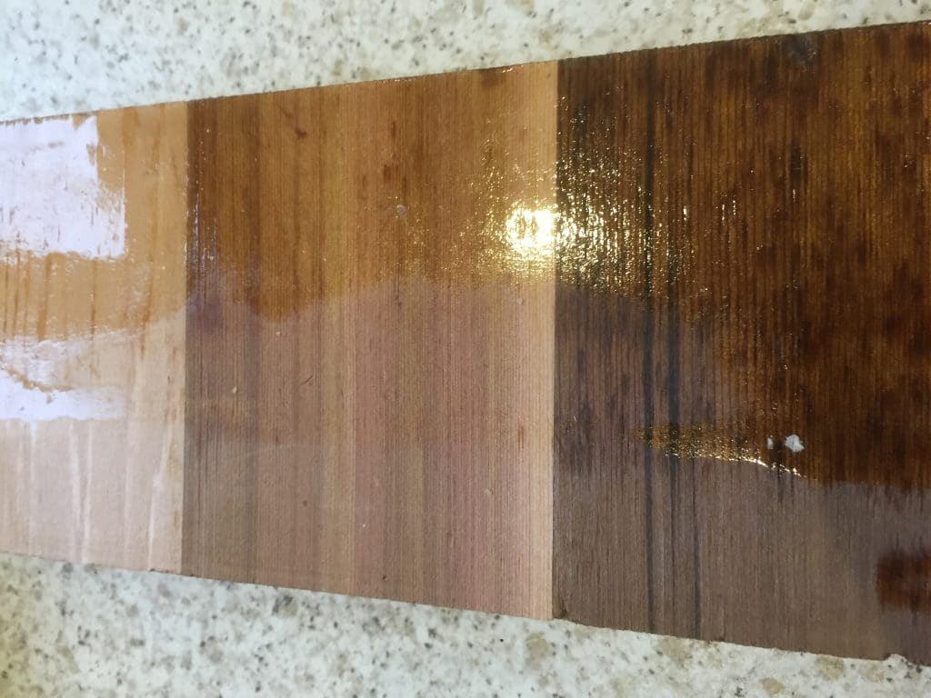 cpes treated cedar wood sample with natural wood surface achieved