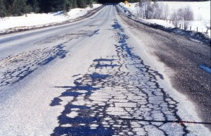 freeze thaw damage to a road