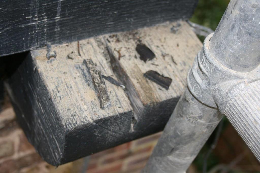 weathered split before wood crack repair