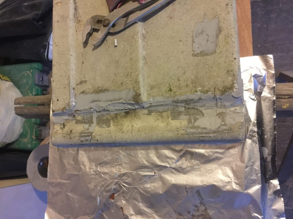 broken precast concrete panel repaired